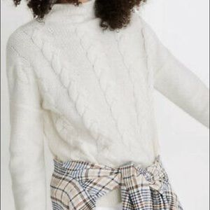 MADEWELL Cream Soft Cozy Cable Knit Sweater Med